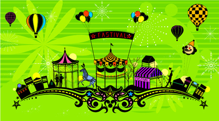 Amusement park with abstract curve decoration Illustration