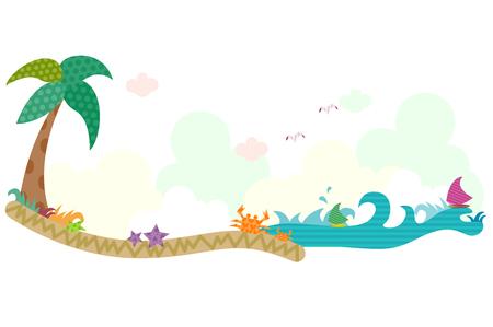 Beach, horizontal design Illusztráció