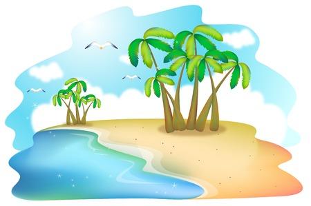 Nature scene of summer beach