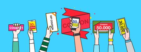 사람들 손 쇼핑 카드를 들고
