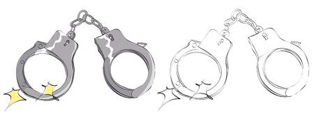 Vintage style hand drawn handcuffs Illustration