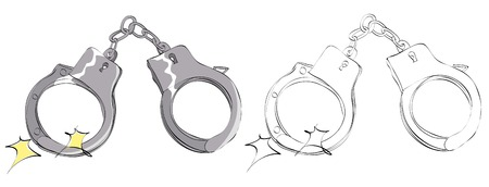 Vintage style hand drawn handcuffs Ilustrace