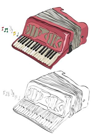 Vintage style hand drawn accordion