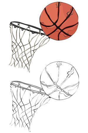 Vintage style hand drawn basketball and rim. Illustration