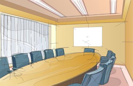 Conference room sketch Ilustracja