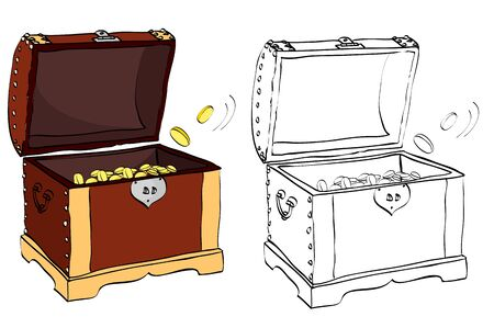 Vintage style hand drawn treasure chest