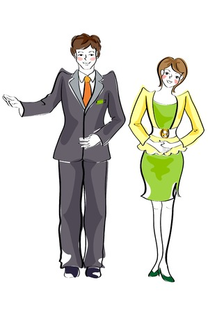 Business couple greeting posing
