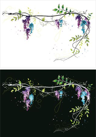 Two version background of grape vine sketch