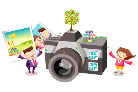 Business people characters with a camera and polaroid photos Illustration