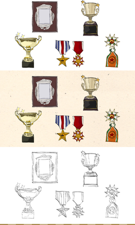 Set of vintage prize monochromatic and colored icon