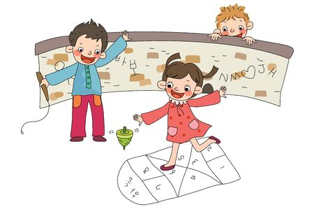 Children playing at playground Illustration