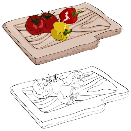 Vintage style hand drawn colorful peppers on a cutting board