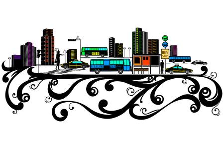 City building, street, flower pattern Silhouette
