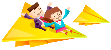 Business people characters on yellow paper airplane Illustration