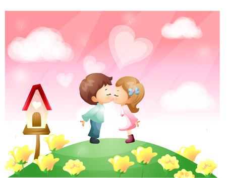 Couple kissing on flower garden