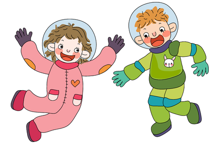 Children wearing astronaut clothing
