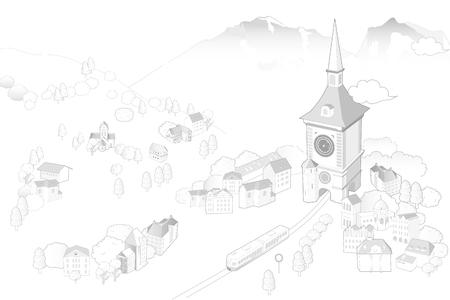 bern  landmark illustrated Illustration