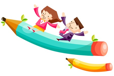 Business people characters riding giant pencils Illustration