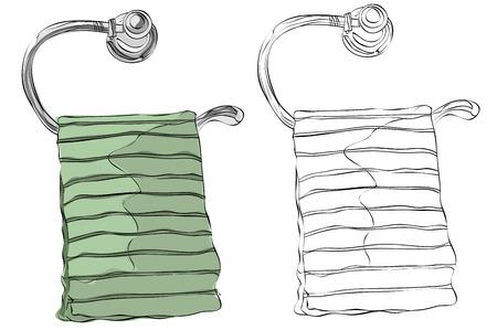 Vintage stijl hand getrokken handdoek opgehangen aan de hanger