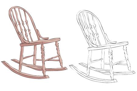 Vintage style hand drawn rocking chair Ilustração
