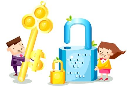 Business people characters with giant padlocks and key Illustration