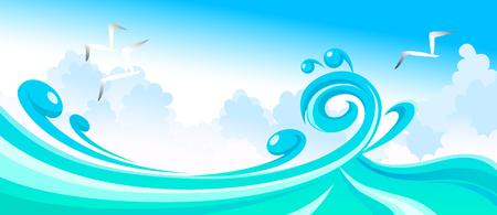 Seagull above the sea