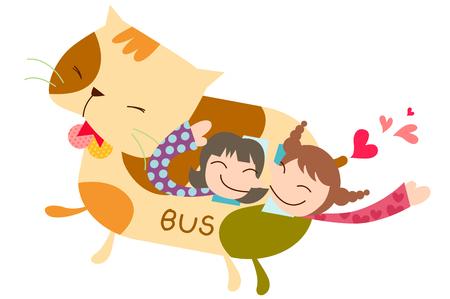 Children riding on cat shape bus Illustration