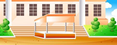 School and school yard Çizim