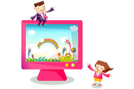 Business people characters with a colorful computer monitor Illustration