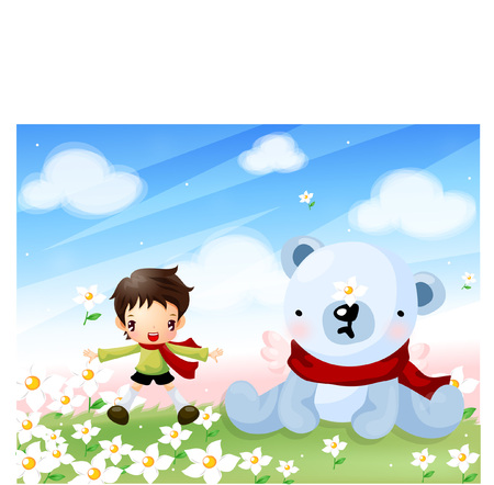 Boy playing with teddy bear on the grass