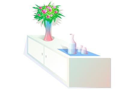 Isometric shelf with vase
