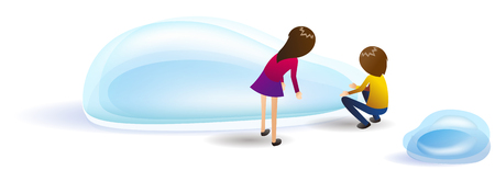 Tiny people with water drop Illustration