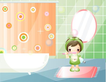 Girl brushing teeth in bathroom