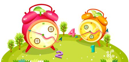 Giant clocks with windows and numbers scattered on the green hill Illustration