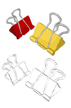 Vintage stijl hand getrokken bindmiddel clips Stock Illustratie
