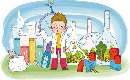 Boy scientist doing experiment Illustration