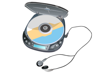 Isometric CD player illustration Illustration
