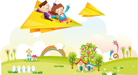 Business couple riding paper airplane
