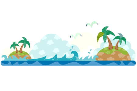 Island on the ocean, horizontal design