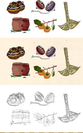 Set of vintage Korea tradition monochromatic and colored icon Illustration