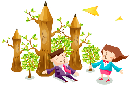 Business people characters with pencil shaped trees and yellow paper airplanes Illustration