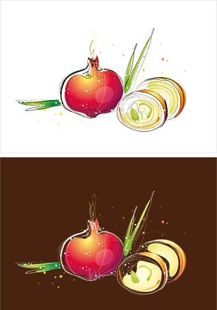 Two version background of onion sketch