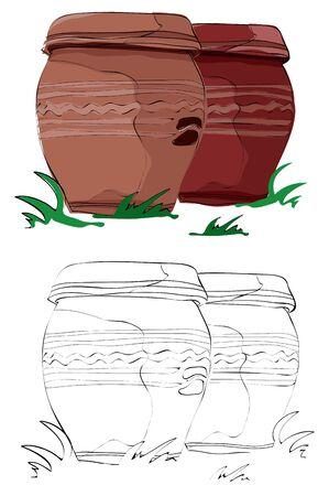 빈티지 스타일의 손으로 그려진 한국 전통 단지, 장락대