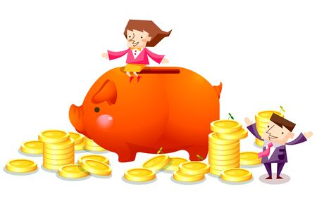 Business people characters and a piggy bank with stacked coins
