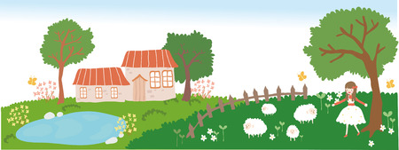 Village house and sheep pasture