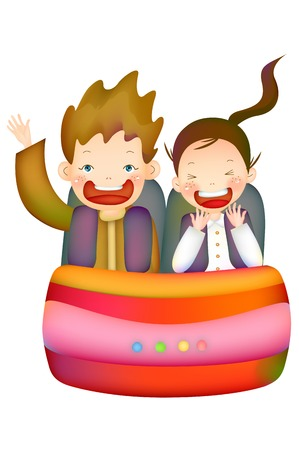 Children Riding the Roller Coaster Illustration
