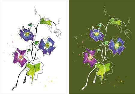 花のスケッチの2つのバージョンの背景