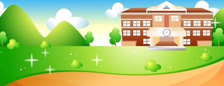 Escuela y patio de la escuela