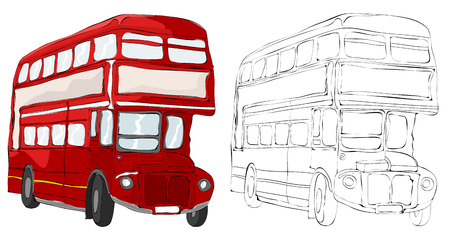 Vintage style hand drawn double decker
