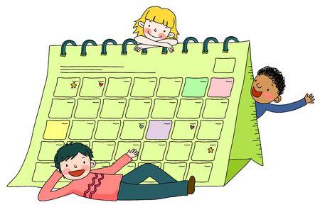 Children with calendar